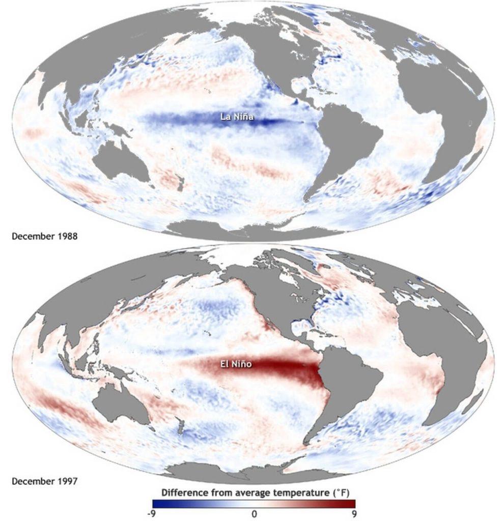 Imagem com as diferenças de temperatura entre o La Niña (dezembro de 1998) e o El Niño (dezembro de 1997)