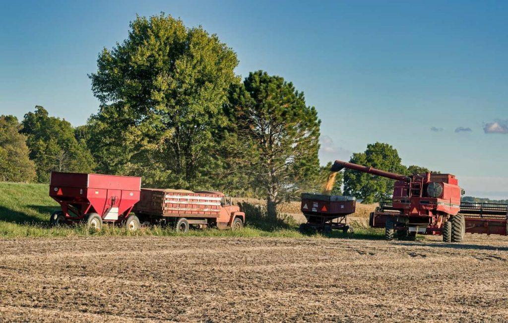 Maquinário realizando colheita