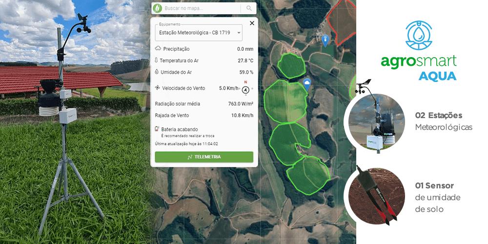 Visualização dos dados da Estação através da plataforma Agrosmart e sensores que a Agrofarm utiliza.