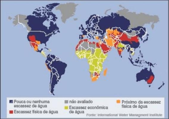 Mapa mundial com tipos de escassez de água